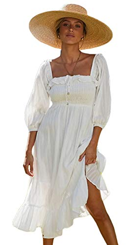 ROVLET Women's Midi Dress Off The Shoulder 1/2 Long Sleeve Ruffle Vintage Dresses Boho Sundress Dating Party (White, Small)