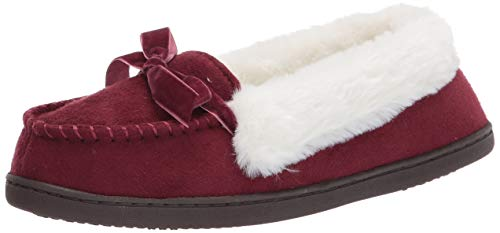 Jessica Simpson Womens Micro Suede Moccasin Indoor Outdoor Slipper Shoe,Wine,Large