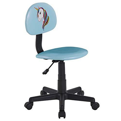 CARO-Möbel Kinderdrehstuhl Unicorn in hellblau mit Einhorn Motiv Schreibtischstuhl Drehstuhl höhenverstellbar