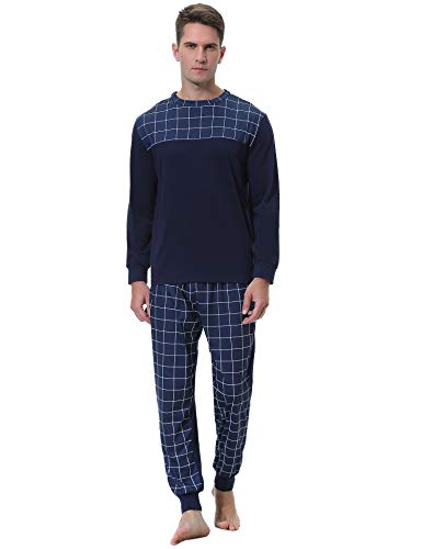 Aibrou Pijama Hombre Algodón Largo 2 Piezas,Ropa de Dormir Causal Camiseta y Pantalones Cómodo cálido para Otoño e Invierno Talla S-XXL