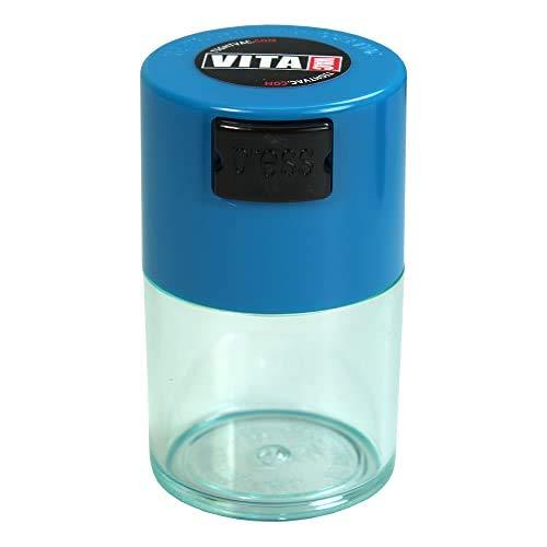 Vitavac Aufbewahrungsbehälter für trockene Lebensmittel, Kräuter, 5 g bis 20 g, luftdicht, vielseitig einsetzbar, mit Vakuum-Dichtung, mit hellblauem Deckel und transparentem Körper