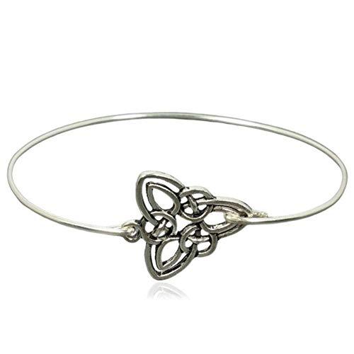 Sterling Silver Filled Celtic Trinity Knot Triquetra Charm Bangle Bracelet, 8'
