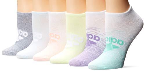adidas Calcetines para niña Superlite con insignia de Sport No Show (6 pares), Niñas, Calcetines, 5150987B, White/Easy Green/Frozen Yellow, M
