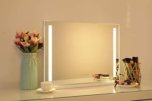 Hollywood Speigel Make-up-Spiegel mit LED-Lichtern, Touch-Steuerung, großer Kosmetikspiegel mit Dimmer-LED-Leuchten, Kosmetikspiegel Schminkspiegel mit Beleuchtung, L58*H43CM, Weiß-Lichtstreifen02