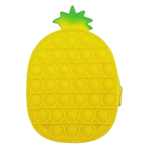 HERT Silicone Pencil Case Novelty Coin Purse Fidget Sensory Toy Stress Reilef Squeeze Toy for Adults Kids Birthday Gift Classroom Reward (Pineapple, 1811.53.5cm)