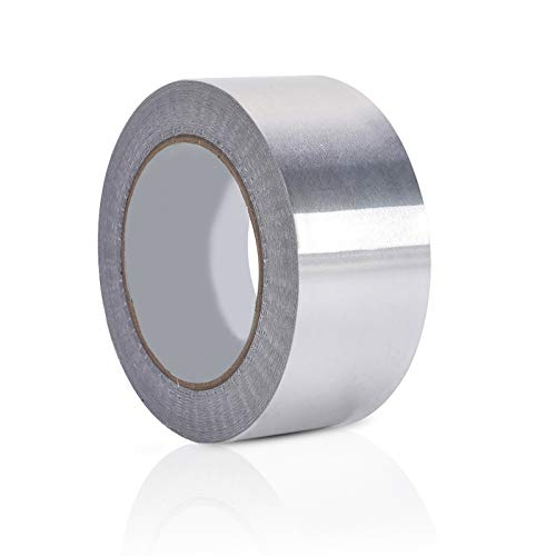 LAITER Aluminio Plata Autoadhesivo Cinta de alta temperatura Impermeable 48mm x 30m Cinta aislante de aluminio Adhesivo Reparaciones Ensamblaje reforzado Sellado Fijación Conducto del sello