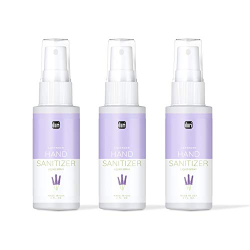 Duri Hand Sanitizer Spray, Lavender Scented, 75% Isopropyl Alcohol, Antiseptic, Kills Germs, 3 Pack (2 fl.oz. each)