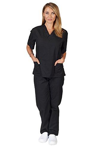 Women's Scrub Set - Medical Scrub Top and Pant, Black, Small