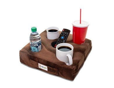 Cup Cozy Deluxe Pillow (Brown) As Seen on TV -The world's BEST cup holder! Keep your drinks close and prevent spills. Use it anywhere-Couch, floor, bed, man cave, car, RV, park, beach and more!