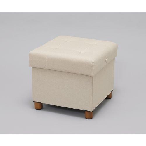 アイリスオーヤマスツールクッション付収納ボックス座れる折りたたみインナーボックス付取り外せる脚付座面裏側テーブルベージュASST-38