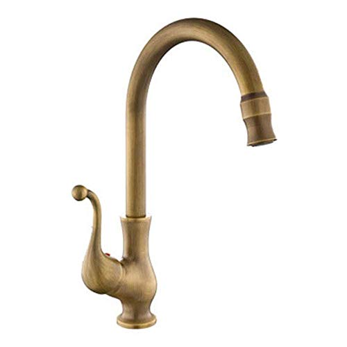 ZGYZ Antique Copper Brushed Kitchen Sink Mixer Tap High Spout,Swivel Country House Style Single Lever Brass Taps Single Handle for Lead Free Brushed Single Handle