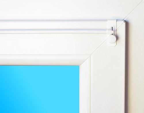 dekondo Gardinenstange ausziehbar Easy Weiß inkl. Befestigung für Oben oder seitlich am Fenster (15-20mm Fensterdicke) (80-100cm)