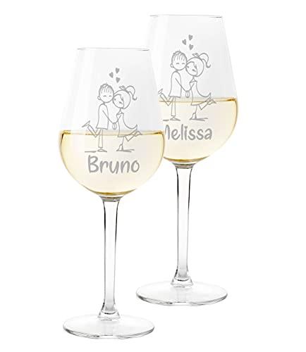 Coppia Calici Personalizzati Set da 2 calici Vino Personalizzati con Nome Innamorati Disegno - Bicchiere in Vetro 500 ml