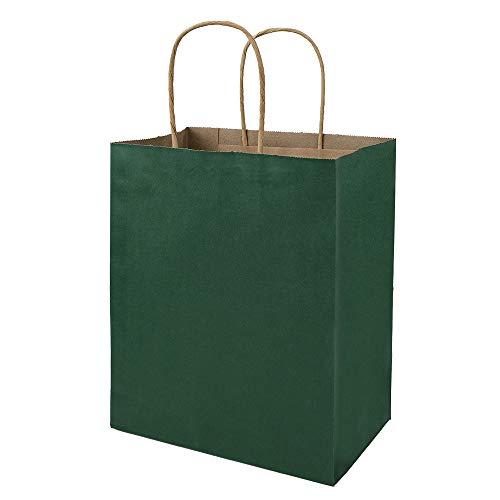 50 Pack 8x4.75x10 inch Medium Green Gift Paper Bags with Handles Bulk, Bagmad Kraft Bags, Craft Grocery Shopping Retail Party Favors Wedding Bags Sacks (Dark Green, 50pcs)