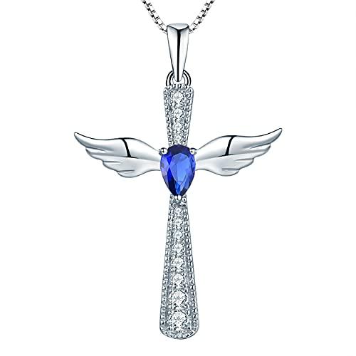YL Kreuz Engelsflügel Halskette 925 Sterling Silber September Geburtsstein Spinellblau Schutzengel Anhänger Halskette für Damen