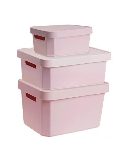 YDORO Cajas de almacenaje con tapa Juego de 3   Cubos de plástico rosa en 3 tamaños diferentes 4,5L, 11L, 17L  Cubos de almacenaje de plástico apilables