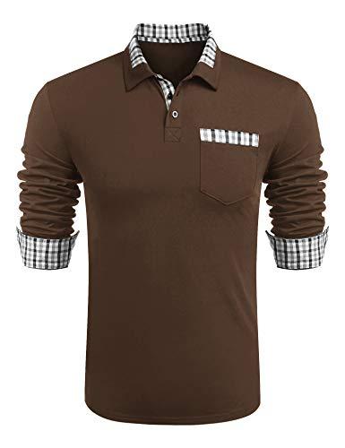 COOFANDY Herren Poloshirt Langarm Polohemd Regular Fit Freizeit Baumwolle Golf Polo Shirt für Männer Dunkel Kaffee XL