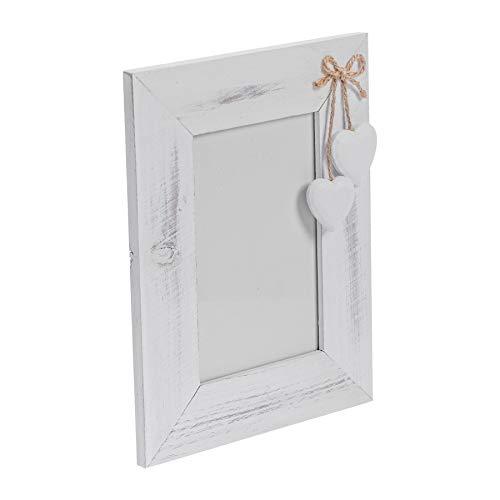 """Nicola Spring Bilderrahmen mit weißen Herzen - Holz - Weiß - 10 x 15 cm (4 x 6"""")"""