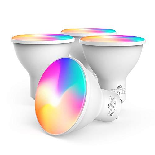 MoKo Lampadina LED WiFi Faretto GU10 [4 PZ], Smart GU10 5W Dimmerabile, RGB Bianco + Luce Fredda + Luce Calda Compatibile con SmartThings, Alexa Echo, Google Home, Controllo vocale/App, Timer - Bianco