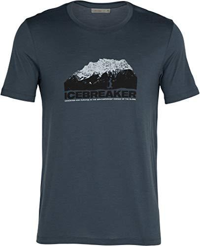 icebreaker M Tech Lite Short-Sleeve Crewe Mountain Blau, Herren Merino T-Shirt, Größe M - Farbe Serene Blue
