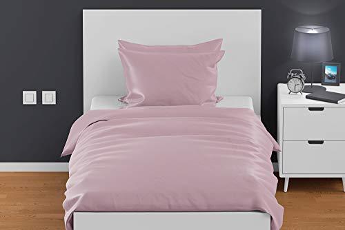 Exotic Cotton Juego de Sábanas 100% Algodón Percal Cama de 90 - 1 Sábana Encimera 160x220cm y 1 Funda de Almohada 50x75cm - Juego de Sábanas Encimeras de 2 Piezas - Color Rosa