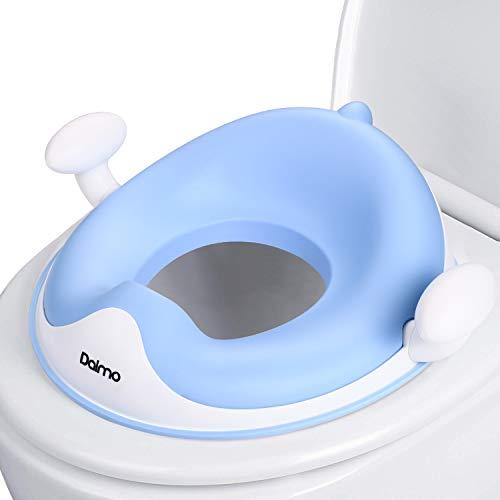 Reductor WC, DALMO Adaptador WC ergonómico, Tapa WC con Reposabrazos, Deflector, Diseño Antideslizante, Orinal de Bebé con Compacto para Viajes, Ayuda para aprender a ir al baño, Azul