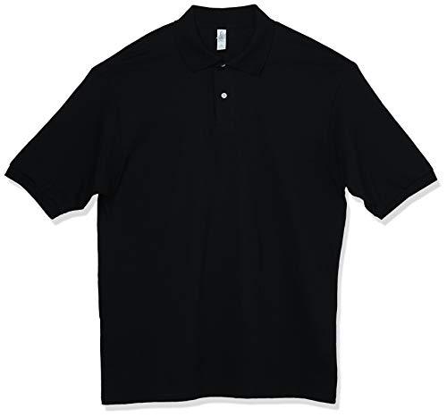 Jerzees Men's SpotShield Stain Resistant Polo Shirts (Short & Long, Short Sleeve-Black, Large