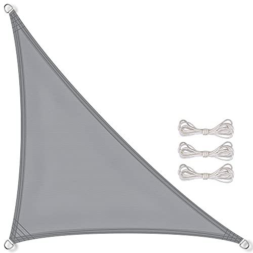 CelinaSun Sonnensegel PES Dreieck rechtwinklig 5x5x7,1m hell grau UPF 50+ Sonnenschutz inkl Befestigungsseile