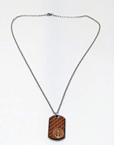 Collar con colgante rectangular de 29 x 19 mm con madera grabada (ancla, rosa de los vientos o árbol de la vida) (MIC0002)
