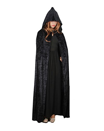 Orfila Women Full Length Halloween Cloak Masquerade Velvet Hooded Cape Robe Drama Cosplay Costumes Witch Wizard Magician,Black