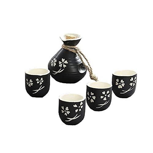 MDFQL Juego de Sake japonés de 5 Piezas, diseño Pintado a Mano Copa de cerámica de cerámica de cerámica de cerámica artesanía Copas de Vino, diseño de Flor de Cerezo, para el hogar, Bar, Comedor