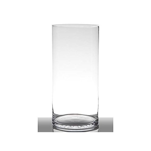 Hakbijl Dekoglas, Vase Zylinder Luna H. 40cm D. 19cm transparent rund Glas