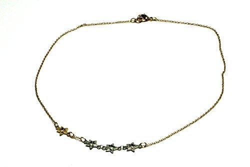 collana girocollo catena con elementi stelline bicolore oro e palladio.