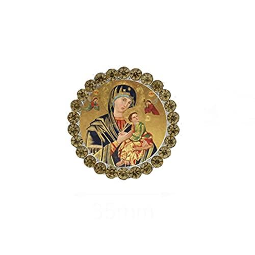 Nuevos broches de la Virgen María, broche de cristal para madre de bebé, broche de cristal redondo, broche religioso cristiano