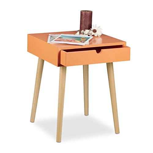 Relaxdays nachtkastje Arvid met lade, nachtkastje, hout, poten natuur, nachtkastje in Scandinavisch design, h x b x d: ca. 50,5 x 40 x 40 cm, oranje