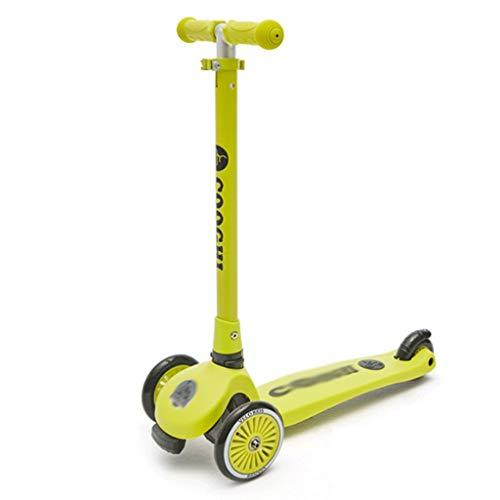 Scooter perfecto para niños con 2 ruedas plegable para niños y niñas, 3 altura ajustable, ruedas iluminadas para niños de 3 años y más, scooter para niños (color: verde)