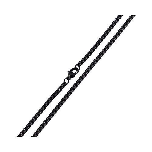 Bishilin Kette Herren Schwarz ohne Anhänger 3 MM Erbskette Halskette Partnerketten Edelstahl 60.5 cm