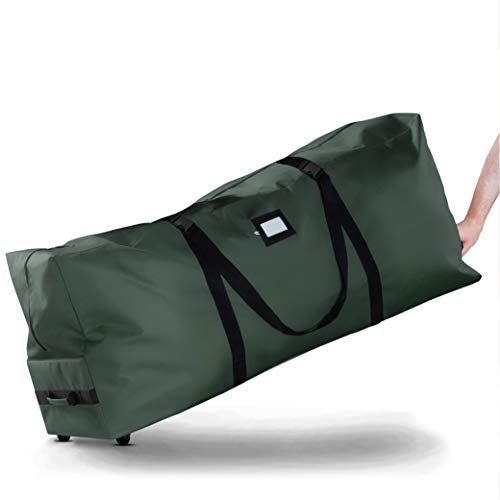 Premium Rolling Large Christmas Tree Storage Bag- Fits Upto 7.5ft. Artificial Disassembled Trees, Durable Handles&Wheels for Easy Carry and Transport, Tear Proof 600D Oxford Duffle Bag 5 Year Warranty