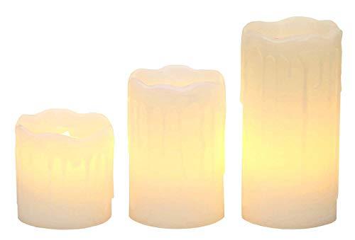 Smart Planet® Lot de 3 bougies LED scintillantes de qualité supérieure en blanc – Jolis détails en cire – Lumière blanche chaude – 5/7/10 x 5 cm