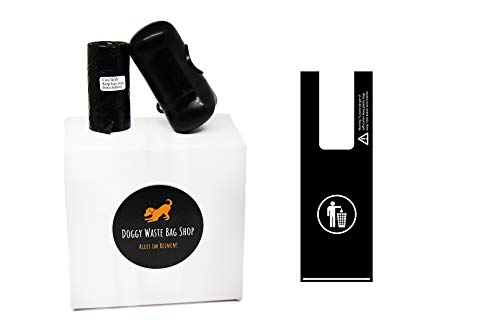 Bicko GmbH Hundekotbeutel mit Henkel Passend für Kotbeutelspender, biologisch abbaubar, Blick- & geruchsdicht, reißfest, unparfümiert, schwarz, 300 Stück Plus Beutelspender