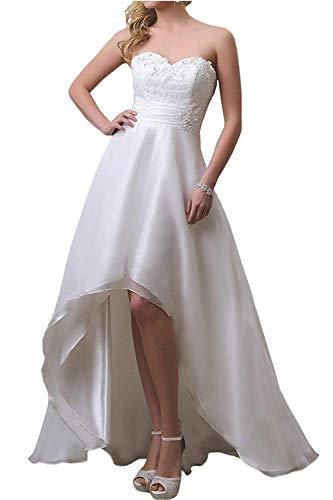 YASIOU Hochzeitskleid Elegant Damen Lang Weiß Elfenbein A Linie Hinten Lang Vorne Kurz Hochzeitskleider Brautkleid Große Größen