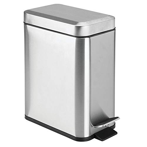mDesign 1.3 Gallon Rectangular Slim Profile Metal Step Trash Can Wastebasket, Garbage Container Bin, Bathroom, Bedroom, Kitchen, Craft, Office - Removable Liner Bucket, Brushed Stainless Steel