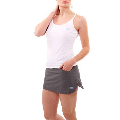 Sportkind Mädchen & Damen Tennis, Fitness Workout, Yoga Tanktop, integriertes Bustier, atmungsaktiv, UV-Schutz, Weiss, Gr. 134