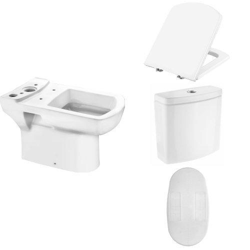 Cornat Stand-WC Tiefspüler ONDO mit CLEAN PLUS Oberfläche für Spülkasten Kombination + Ondo WC-Sitz, weiß, KSOND00 + ONDO Spülkasten + SSWC Schallschutz-Set für Stand-WCs