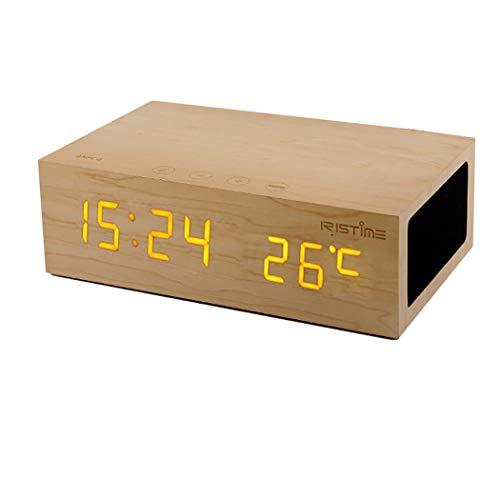Mslike Altavoz inalámbrico Bluetooth de Madera, Reloj de Alarma 4.0 con Reloj de Moda NFC Pantalla de Temperatura de Alarma Creativa (Diseño : Oak)