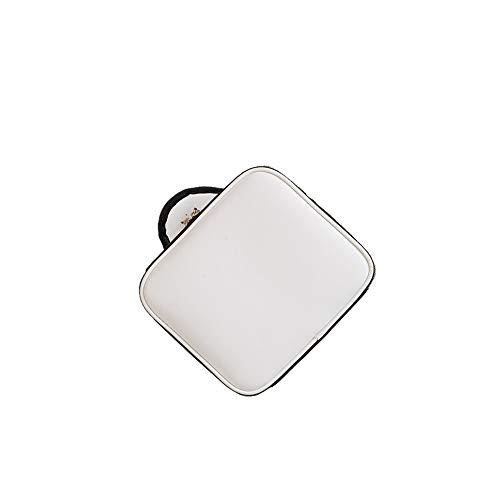 Lichao Verstelbare scheidingswand PU make-uptasje, dubbele multifunctionele make-uptas 14,6 x 9,8 x 9,9 inch, geschikt voor op reis, thuis en anderen wit