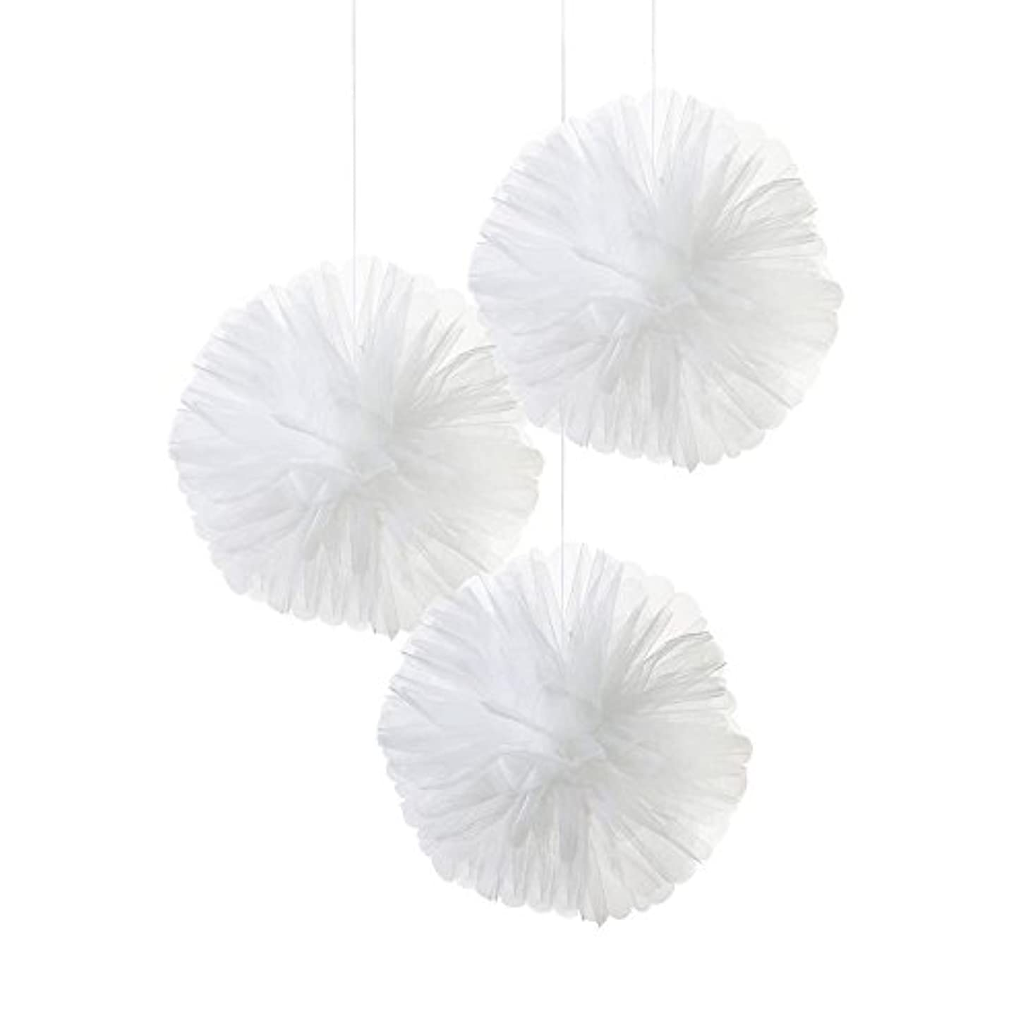 Talking Tables Modern Romance Tulle Pom Pom Hanging Décor for a Wedding or Celebration, White (3 Pack)