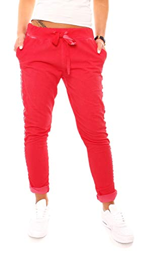Easy Young Fashion Damen Hose Jogginghose Lang Sporthose Vintage Freizeit Sweatpants Baumwolle mit Seitenstreifen Rot S 36