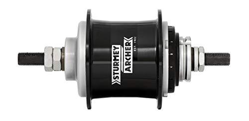STURMEY ARCHER Getriebenabe Duomatic Kick-Shift 2-Gang, SB-verpackt Gangwechsel erfolgt durch leichtes Rücktreten der Pedale, aus Aluminium, mit Zubehör, ohne Zahnkranz, 67mm Flansch-Ø, 32 Loch, mit Freilauf, schwarz