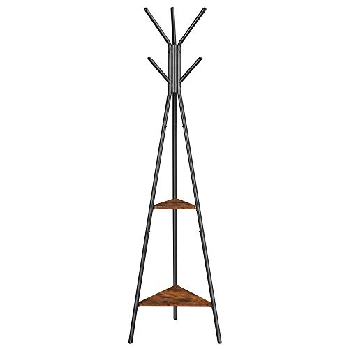 VASAGLE Coat Rack Freestanding, Coat Hanger Stand, Hall Tree with 2 Shelves, for Clothes, Hat, Bag, Industrial Style, Rustic Brown and Black URCR16BX